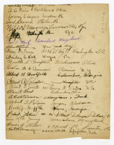 This is the back of Foss's copy of the O.S.U. squadron 8 photo; men have signed it and provided their addresses.