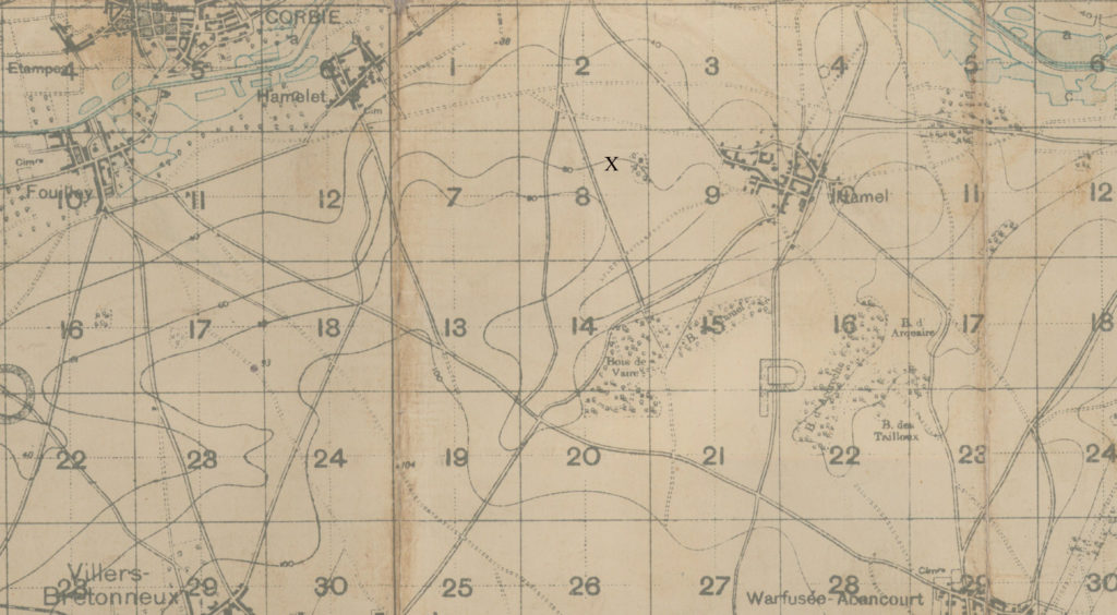 "A portion of an old map on which an ""x"" has been marked just west of the town of Hamel."