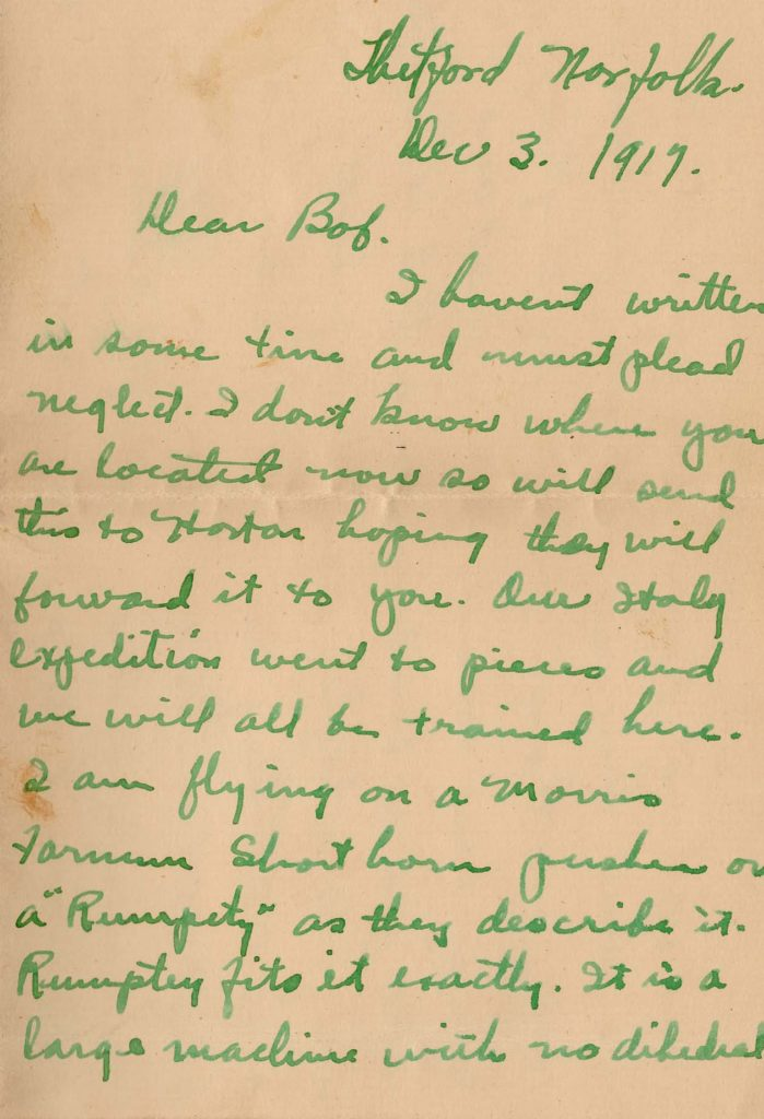 """The first page of a letter dated December 3, 1917 from Thetford with the salutation """"Dear Bob."""" It is on green ink on sepia colored paper."""