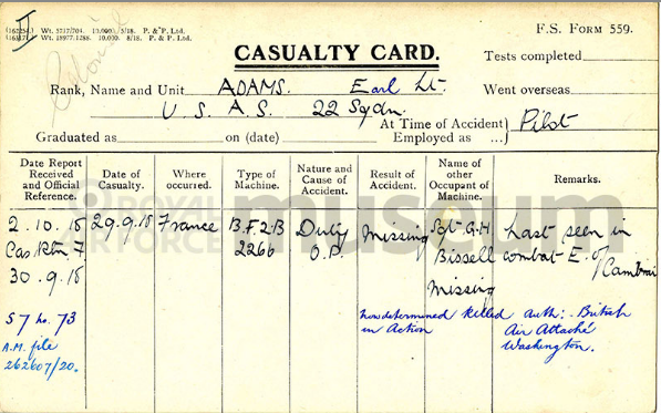 "A printed card with handwritten information about Adams's disappearance from the patrol on September 29, 1918. He is listed in black ink as ""missing""; a later notation in blue ink indicates he was ""now documented killed in action."""