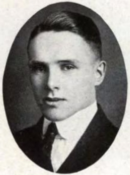 Oval portrait of the head and shoulders of a young man in a suit.