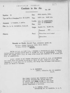 Barksdale's combat record for August 30, 1918, a typewritten document.