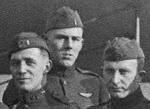Photo of three men in uniform, Barksdale in the center.