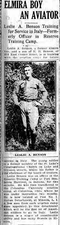 "Newspaper clipping titled ""Elmira Boy an Aviator"" with a full-length photo of Benson."
