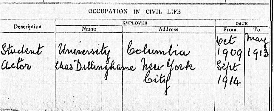 Portion of printed form with handwritten entries about Berry's occupation in civil life.