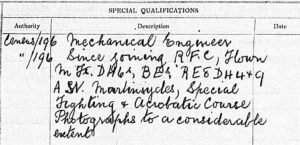 Portion of printed form with handwritten entries about Berry's special qualifications.