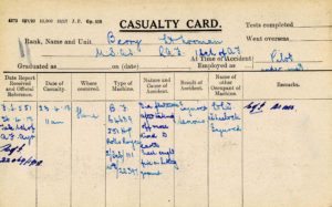 A printed form with a number of notations regarding Berry's accident filled in with blue ink.
