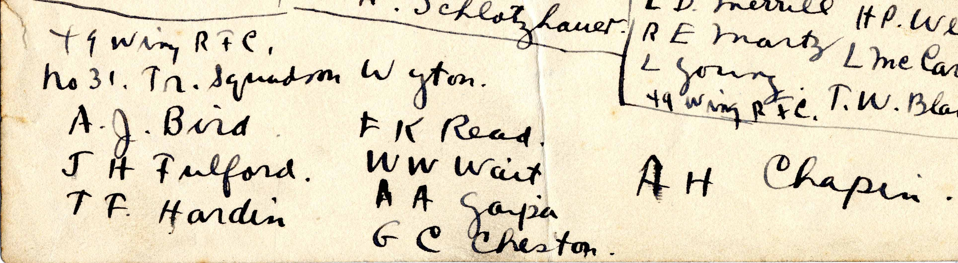 "Bottom portion of a page; handwritten in ink is the heading ""49 Wing R.F.C. No. 31 Tr. Squadron Wyton."" under the heading are the names: A. J. [sic] Bird, J. H. Fulford, T. F. Hardin, F. K. Read, W. W. Wait, A. A. Gaipa, G. C. Cheston, A. H. Chapin."