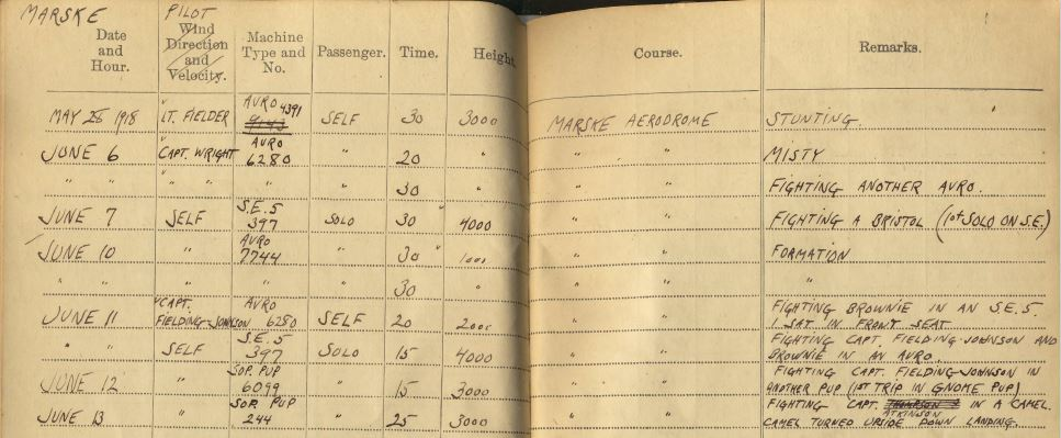 Entries in Curtis's Pilot's Flying Log Book for May 25--June 13, 1918.