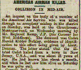"Newspaper clipping, partial, with the title ""American Airman Killed Collision in mid-Air."""