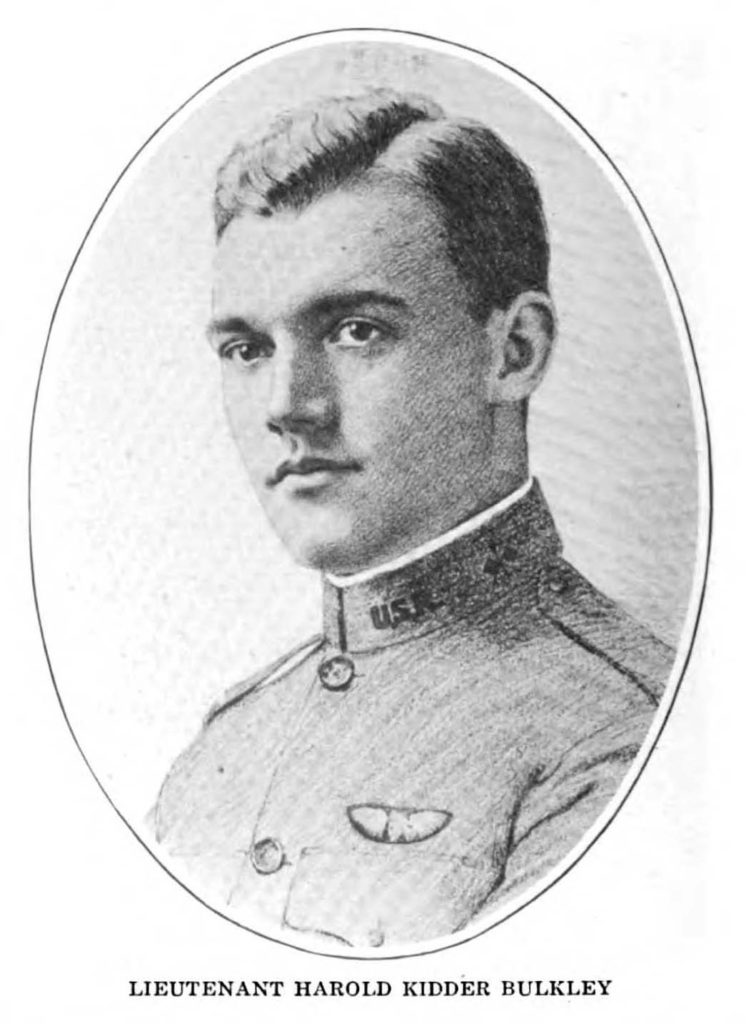 Three quarter profile of the head and shoulders of a young man in uniform with wings over his left breast pocket. It appears to be a drawing based on a photo.