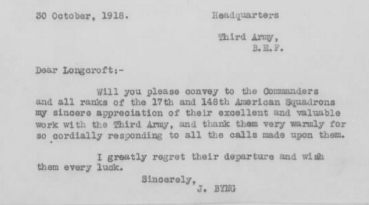 Brief typed letter from Byng to Longcroft asking that he thank the 17th and 148th for their work with the Third Army.
