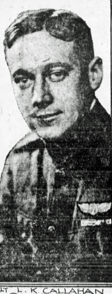 A newspaper photo of Callahan, face and bust; pilot's wings are visible above his left pocket.