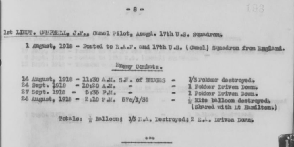 "A portion of a typed page that lists Campbell enemy combats, with total of ""1/2 Balloon; 1/3 E.A. Destroyed; 2 E.A. Driven Down."""