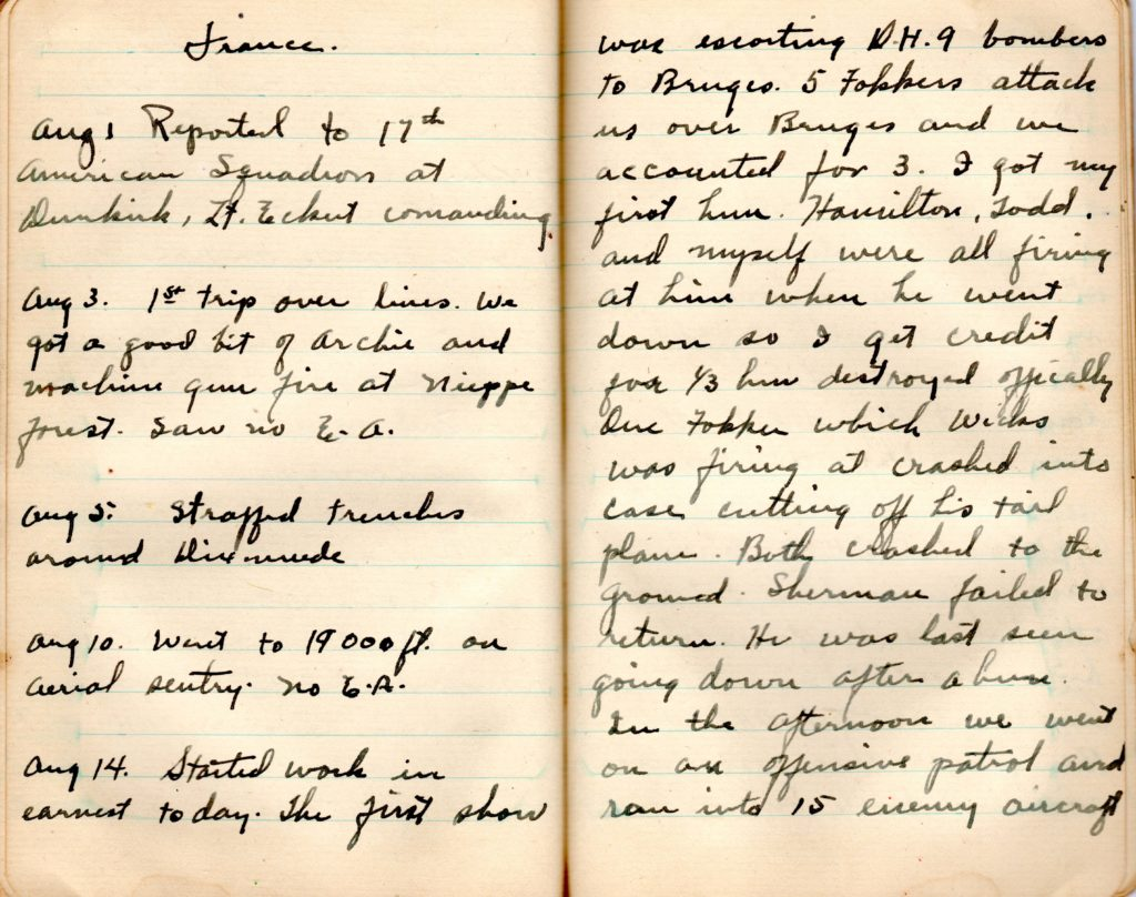 """Two pages from Campbell's diary, opening with the heading """"France,"""" and with entries for August 1, 3, 5, 10, and 14, 1918. The last includes an account of Campbell's first combat involvement on August 14, 1918."""
