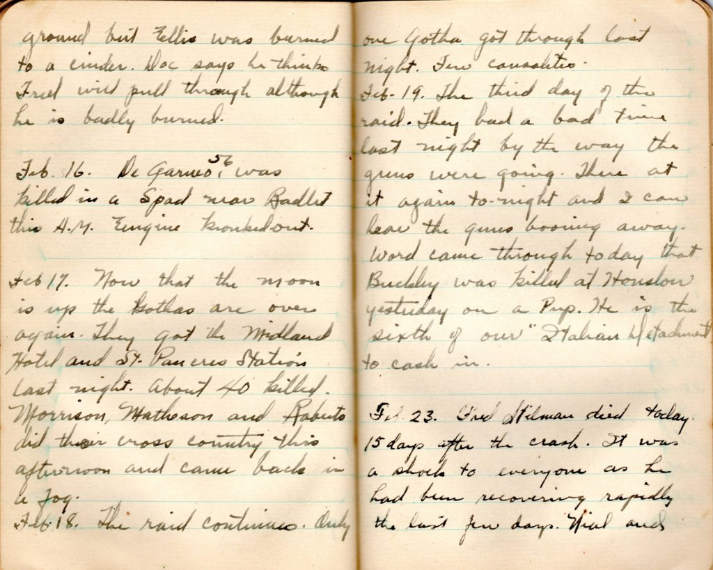 Two pages from Campbell's diary, with the end of an entry about the collision between Stillman and Ellis, and entries from February 16, 17, 18, 19, and 23, 1918, mainly recounting training casualties and German raids on London.