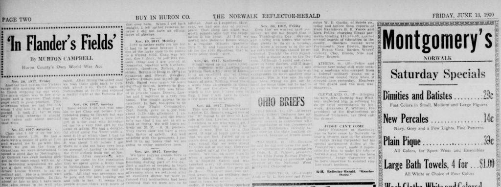 """Part of a newspaper page, from the Norwalk Reflector-Herald, with a heading """"In Flander's Fields"""" and including entries from Campbell's diary."""