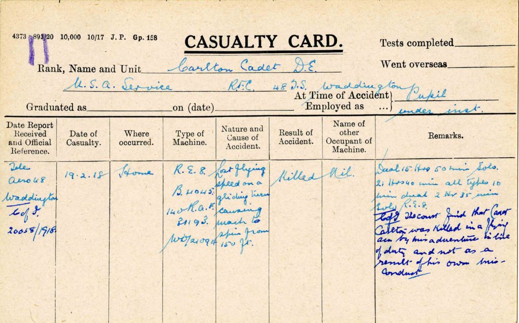 "A form labeled ""Casualty Card"" printed on a note card with handwritten information about Carlton's crash on it."