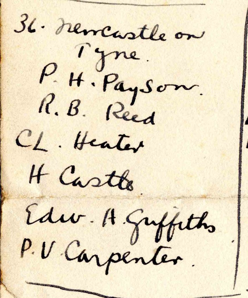"A handwritten list headed ""36. Newcastle on Tyne"" with the names Payson, Reed, Heater, Castle, Griffiths, Carpenter."