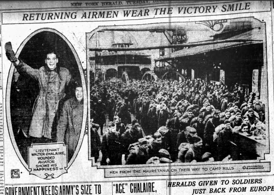 Clipping from New York Herald showing on the left a jubilant Walter Chalaire and on the right a crowd of arriving soldiers.