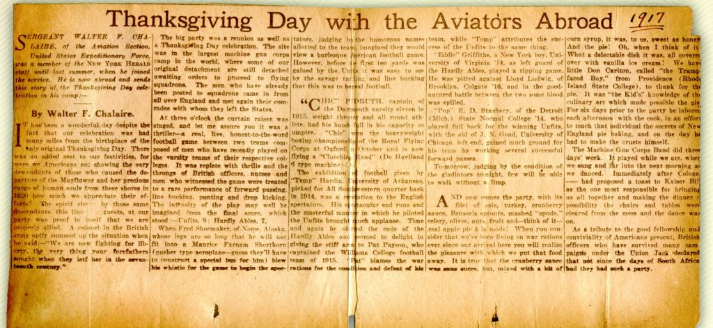 """A newspaper clipping of an article by Walter F. Chalaire titled """"Thanksgiving Day with the Aviators Abroad."""" Someone has handwritten in the date 1917."""