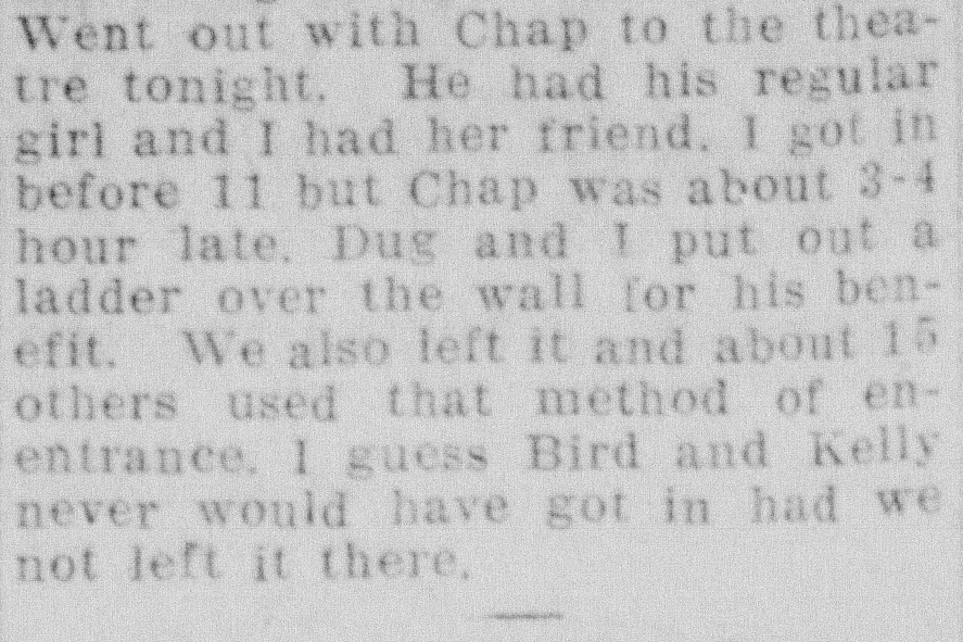 Newspaper clipping with a passage from Campbell's diary.