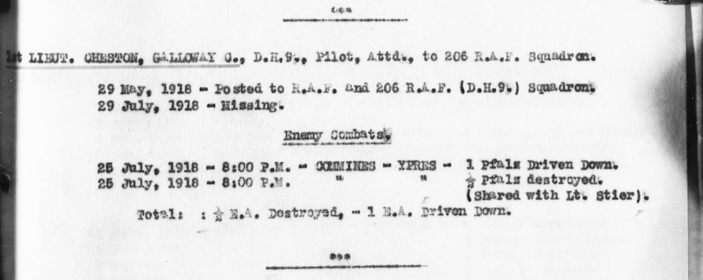 Part of a typed page with information on Cheston's service with No. 206 Squadron and enemy combats.