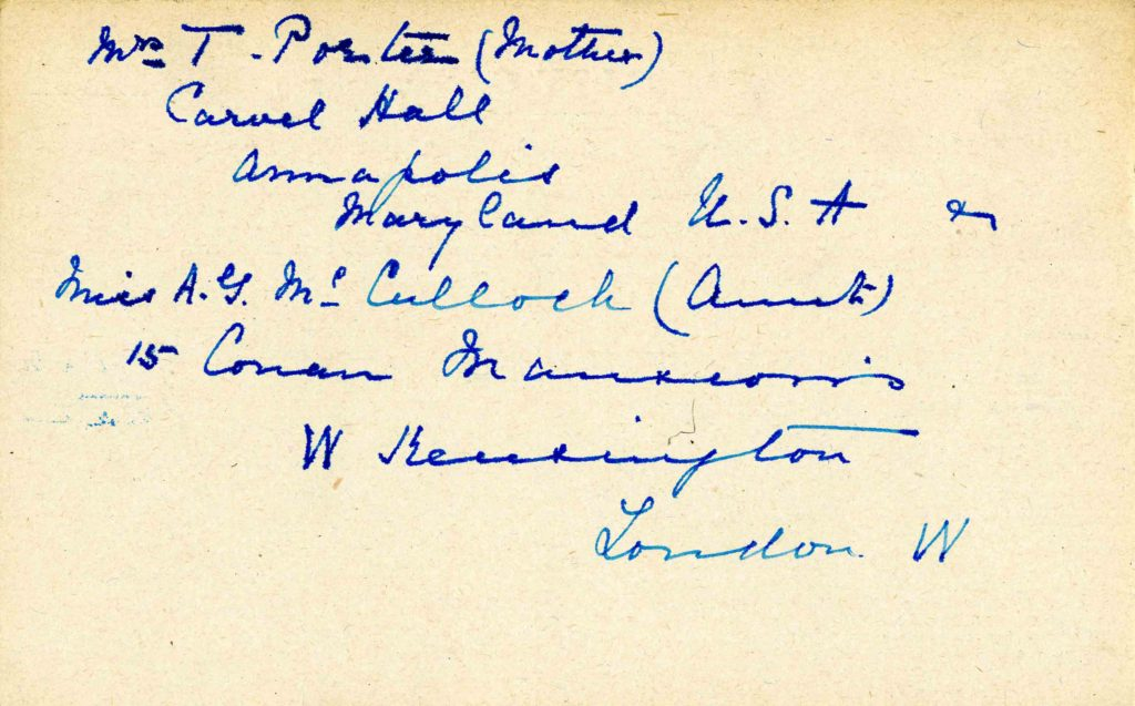 A card with names and addresses of Cheston's mother and aunt written in in blue ink.