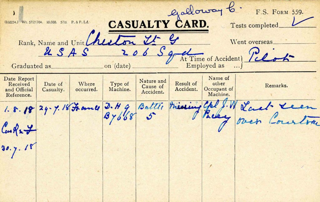 A printed card with information about Cheston's disappearance on July 29, 1918, filled in in blue ink.