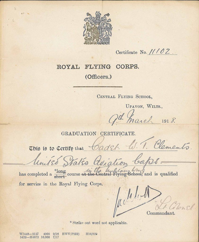 A printed certificate filled in in with a fountain pen showing that Clements has graduated March 9, 1918, in the R.F.C.