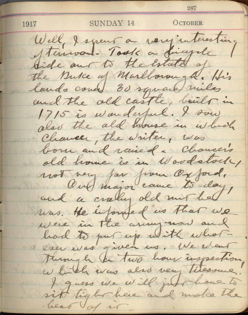 Entry for October 14, 1917, in Clements's diary.