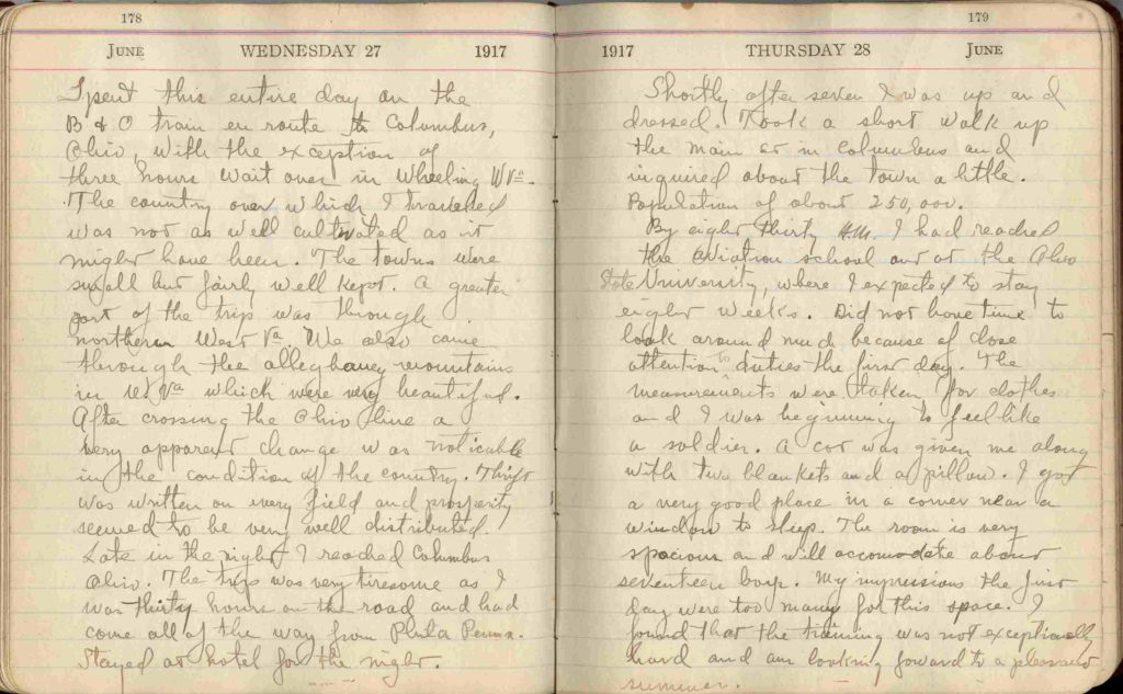 Entries for June 27 and 28, 1918, in Clements's diary.