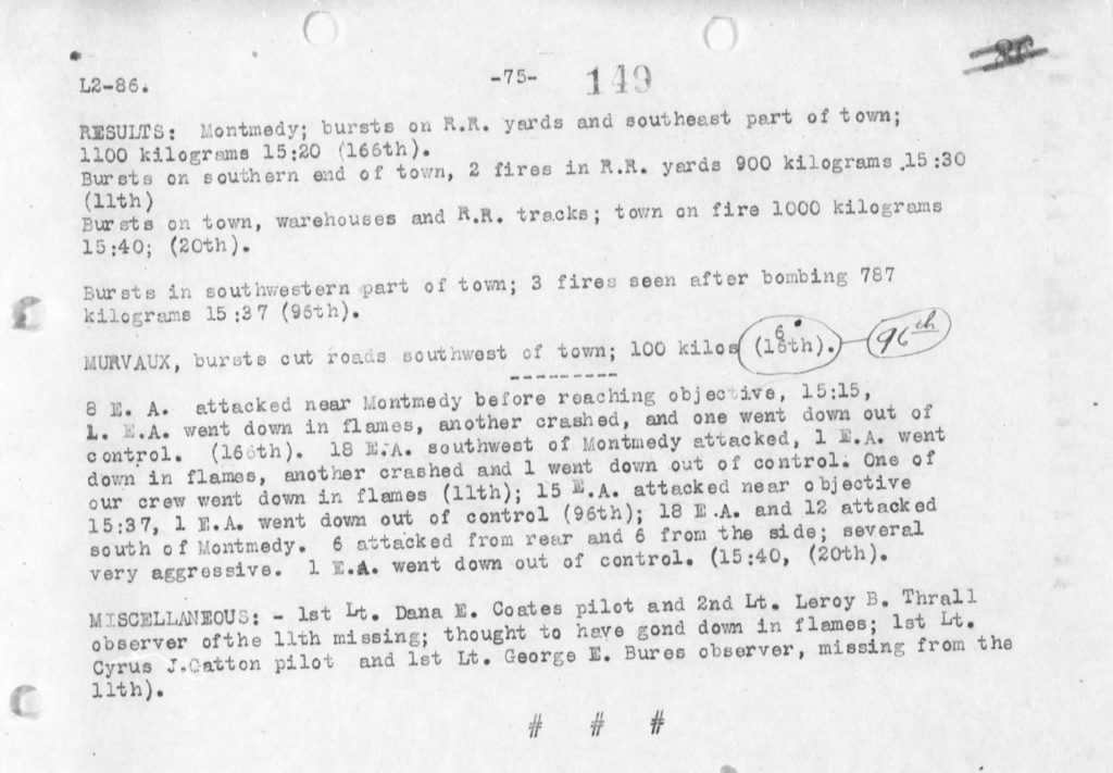 """A typed page summarizing the results of the November 4, 1918, raid on Montmedy, with, under """"Miscellaneous,"""" the information that Coates and Thrall are missing."""