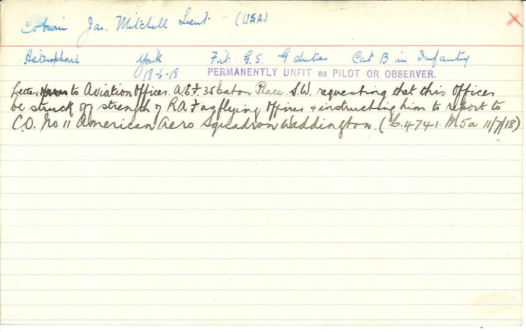 "A note card with notes in blue and black ink regarding Coburn. His diagnosis of ""heterophoria"" is noted, along with a stamped notation ""Permanently unfit as pilot or observer."""