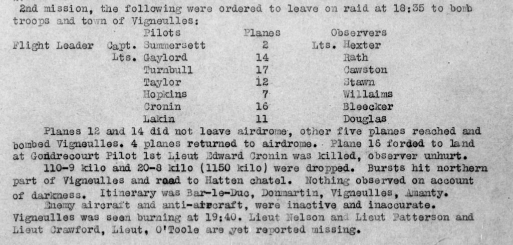"""Part of a typed page describing what happened on Cronin's mission on September 12, 1918. Seven teams of pilot and observer are listed, with the note that two planes did not leave the airdrome. It is noted that Cronin's plane (No. 16) was forced to land and he was killed. The number of bombs dropped and an account of enemy aircraft and anti-aircraft (""""inactive and inaccurate"""") are also noted. Three men are reported missing."""