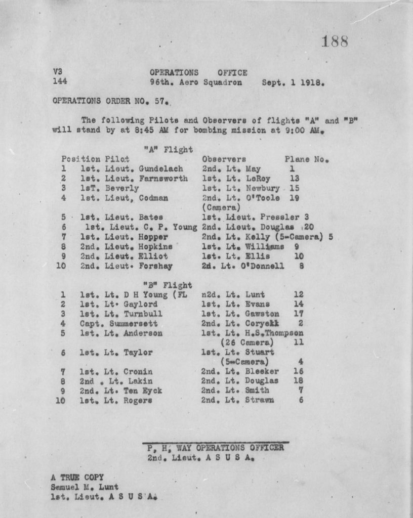A neatly typed operations order, misdated September 1, 1918, for September 12, 1918, listing twenty teams of pilot and observer in two flights, who were to stand by at 8:45 for a planned bombing mission to commence fifteen minutes later.
