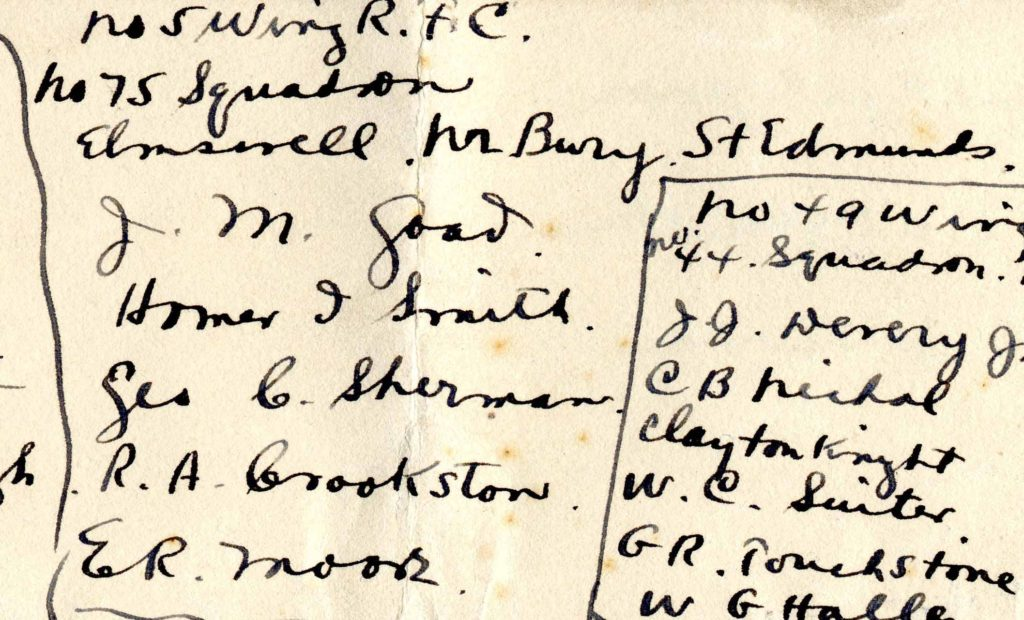 """A portion of a page with names in black ink; under the heading """"No. 75 squadron"""" appear the names J. M. Goad, Homer I. Smith, Geo. C. Sherman, R. A. Crookston, and E. R. Moore."""