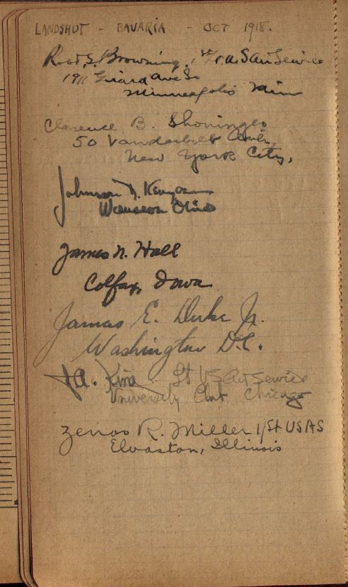 "A page headed ""Landshut Bavaria Oct 1918"" with names and addresses in various hands."