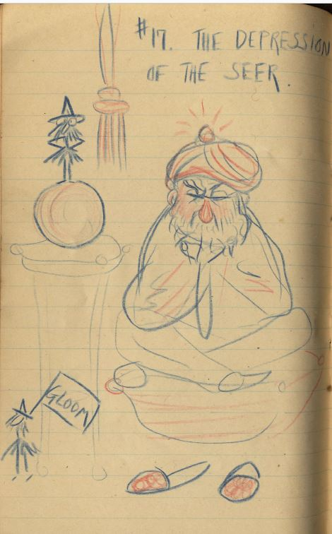 "A sketch in blue and red pencil of a turbaned man sitting with crossed legs and arms and tight-shut eyes; a small figure with a pennant saying ""Gloom"" is at his feet. The drawing is labeled ""No. 17. The depression of the seer."""