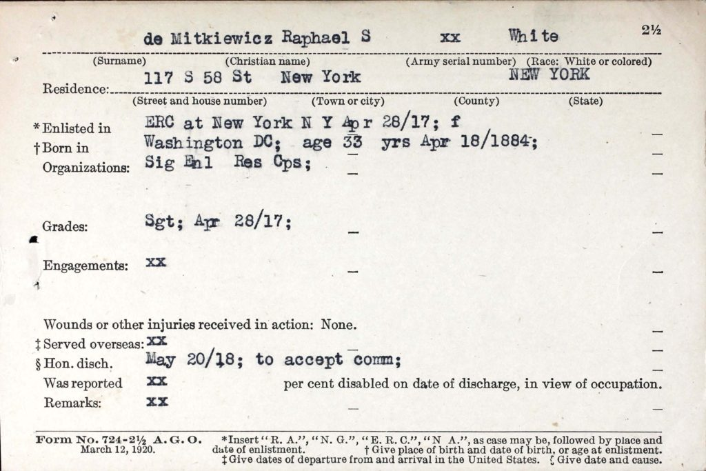 A printed form with information about De Mitkiewicz's military service typed in.
