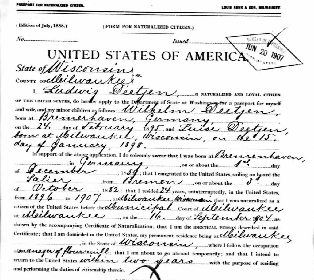 A portion of the passport application made by Deetjen's father in 1907, including the information that William Ludwig Deetjen was born in Bremerhaven.