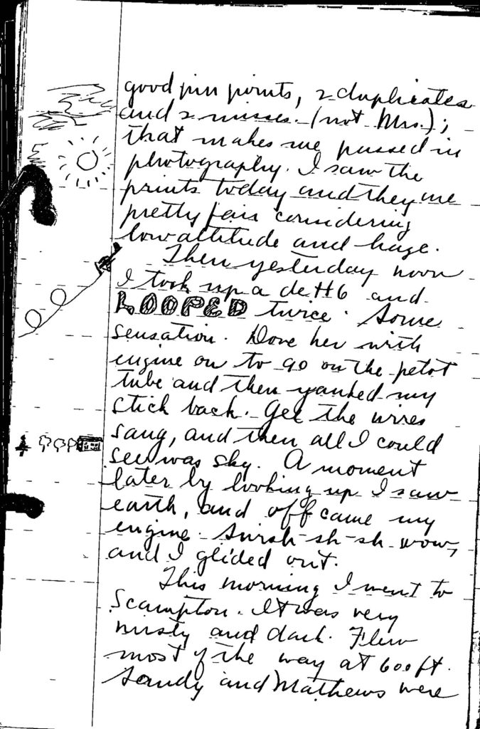 "A page from a handwritten diary with sketch in margin. The word ""looped"" stands out in the sentence ""I took up a deH6 and looped twice."""
