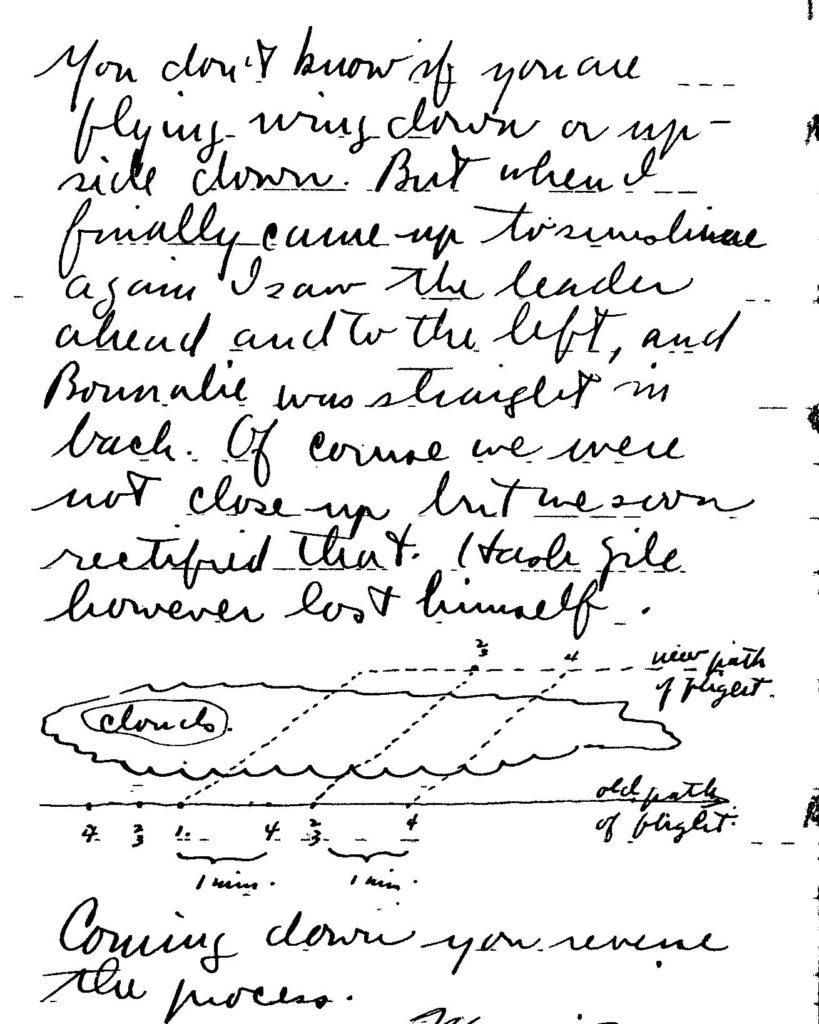 Page from Deetjen's diary with a sketch of planes flying in formation through a cloud.