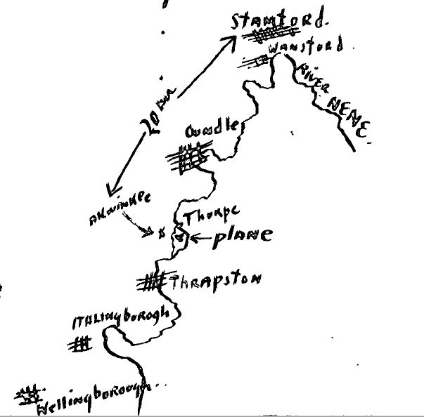 Deetjen's rough map showing Stamford and Aldwincle and where he made his forced landing.