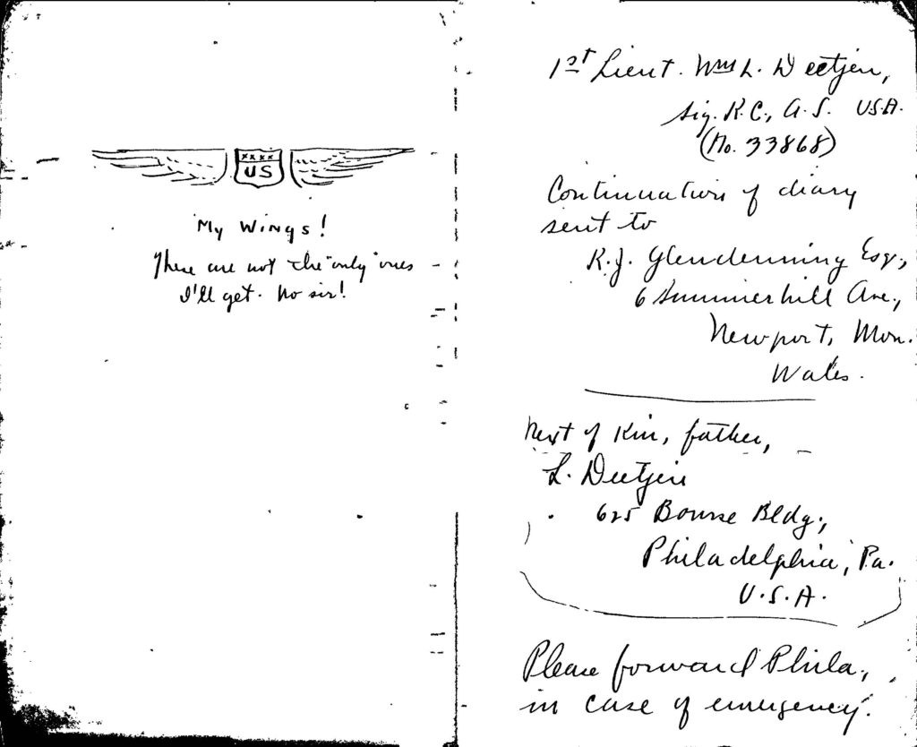 Two page spread from Deetjen's diary, showing on the left a sketch of a pilot's wings, on the right, a note that earlier diary notebooks had been sent to Mr. Glendenning. Also Deetjen's father's address and the direction that the notebook was to be sent to him in case of emergency.