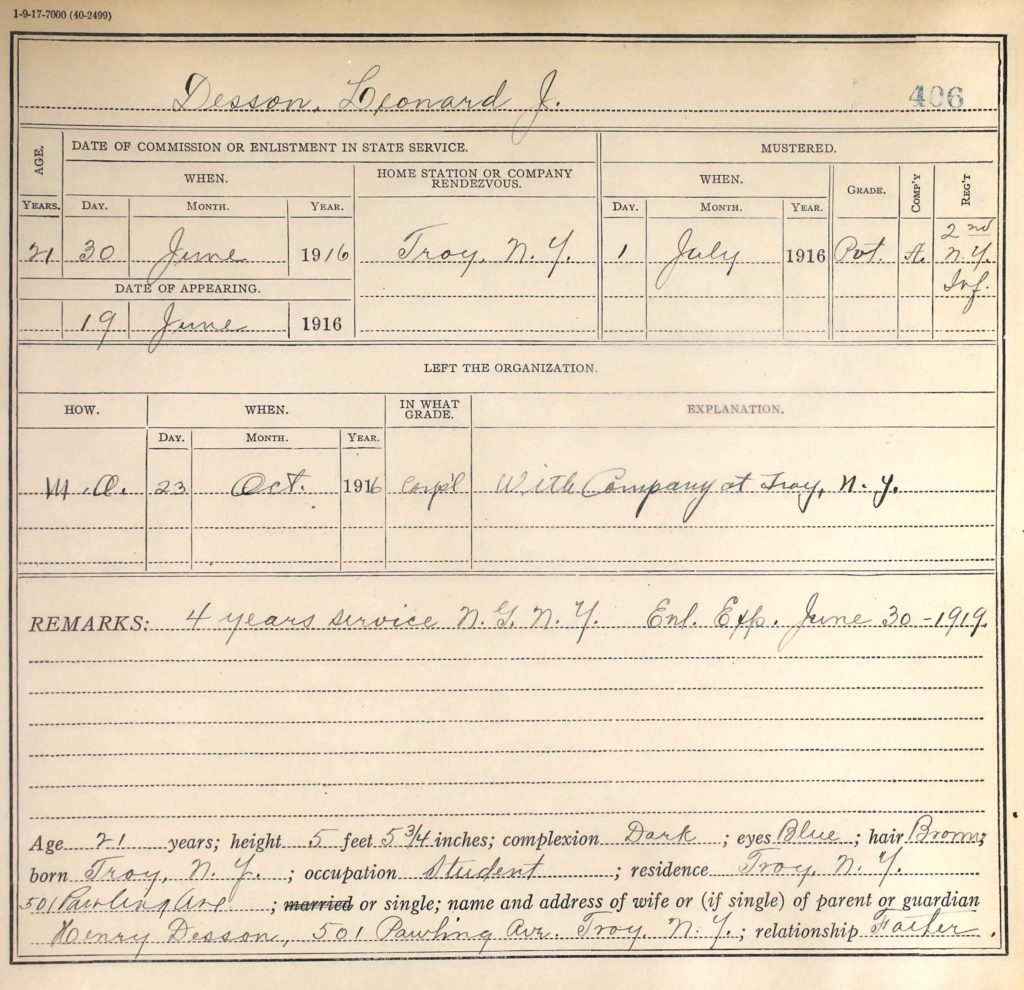 A printed military form with information about Desson's service with the National Guard filled in by hand.