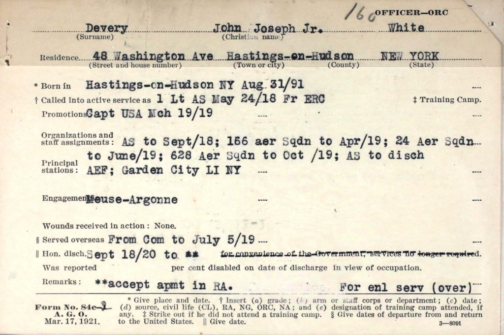 A printed card with information about Devery's service typed in.