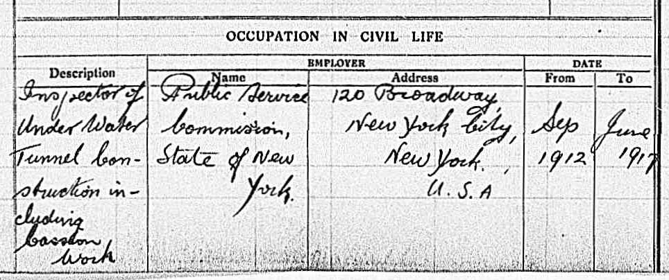 Part of a printed form with information about Devery's occupation in civil life handwritten in.