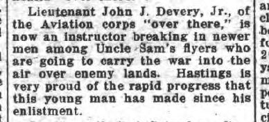 A newspaper clipping about John J Devery, Jr. serving as an instructor.