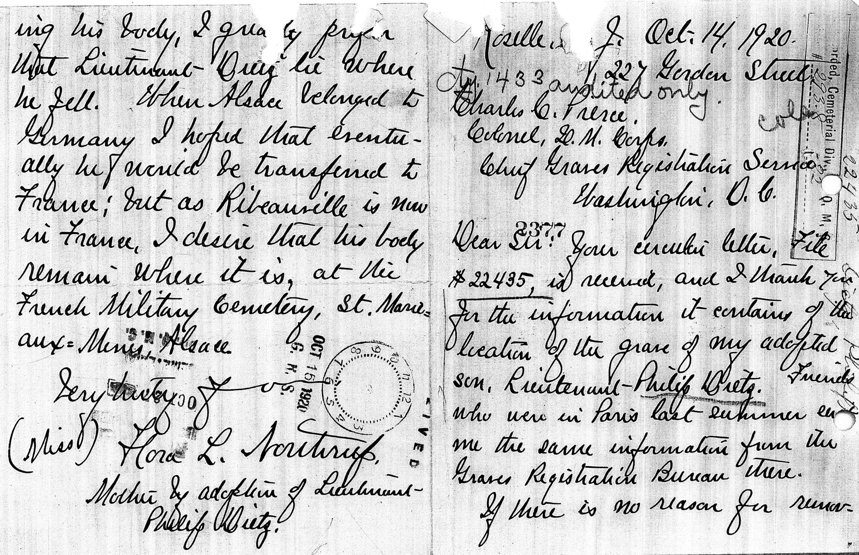 A handwritten letter from Flora Northrup indicating her wish that Dietz's body remain in the cemetery in Sainte-Marie-aux-Mines.